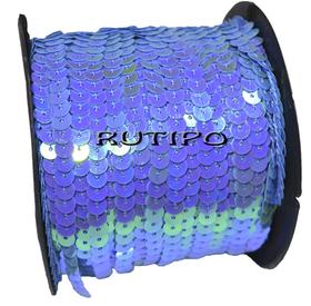 Пайетки на нитке синие (перламутр), 6мм, бобина