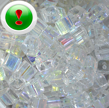 Намистина скляна куб Clear AB, 7 мм, шт