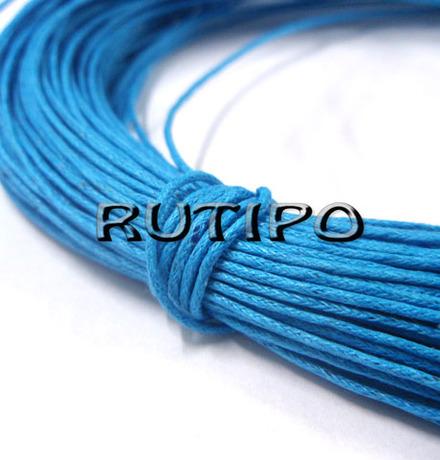Вощеный шнур голубой, 1мм, моток (75-78м)
