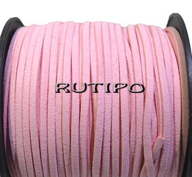 Шнур замшевый светло-розовый, 3*1.5мм*1м