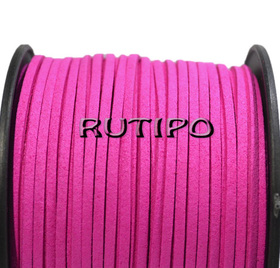 Шнур замшевый, ярко-розовый, 3*1,5мм*1м