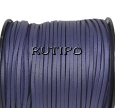 Замшевый шнур с ПУ кожей темно-синий, 3*1.5мм*1м