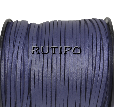Suede cord with PU leather dark blue, 3 * 1.5mm * 1m